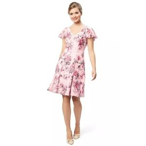 REVIEW PINK FLORAL GARDEN PARTY COCKTAIL DRESS 6